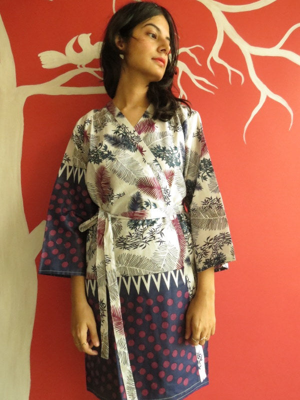 White Blue Leafy Knee Length, Kimono Crossover Belted Robe