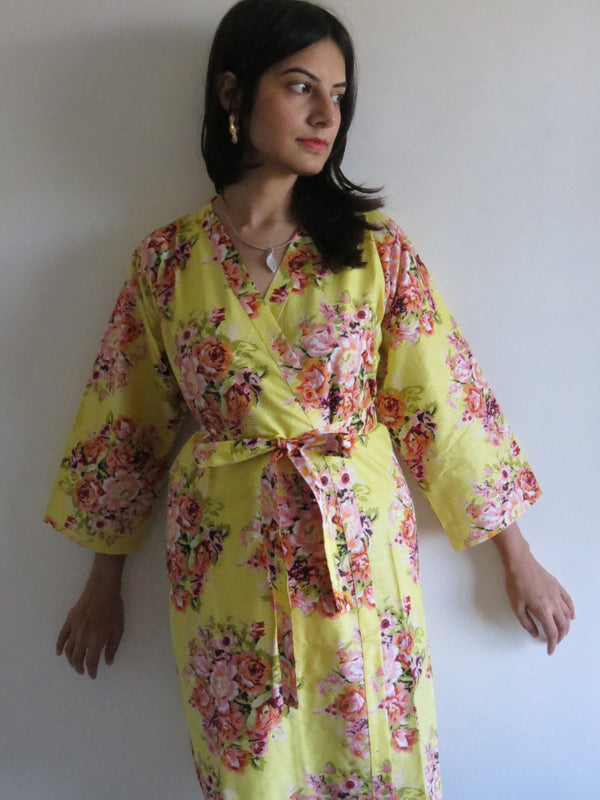 Light Yellow Floral Knee Length, Kimono Crossover Belted Robe