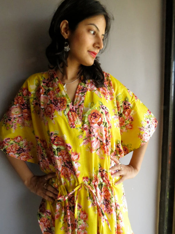 Yellow Floral V-Neck, Ankle Length, Cinched Waist Caftan-C11 fabric Code