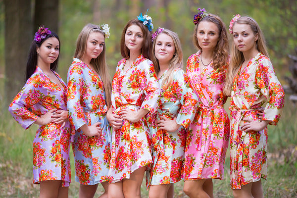 Mismatched Silk Floral Posy Patterned Bridesmaids Robes in Soft Tones