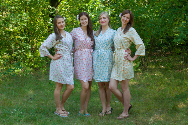 Mismatched Starry Florals Patterned Bridesmaids Robes in Soft Tones