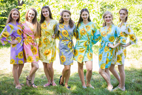 Mismatched Sunflower Sweet Patterned Bridesmaids Robes in Soft Tones