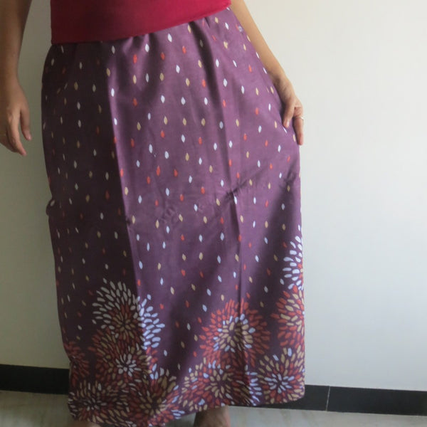 Plum Floral Wrap Around Skirt