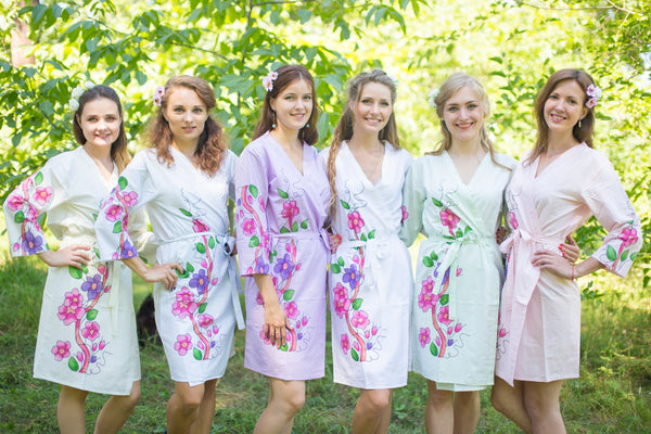Mismatched Swirly Floral Vine Patterned Bridesmaids Robes in Soft Tones