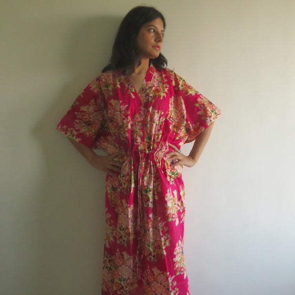 Magenta Floral V-Neck Button Down to Waist, Ankle Length, Cinched Waist Caftan