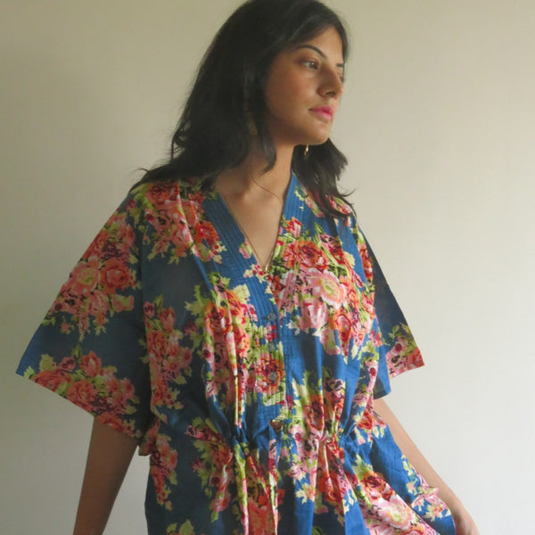 Dark Blue Floral V-Neck Button Down to Waist, Ankle Length, Cinched Waist Caftan