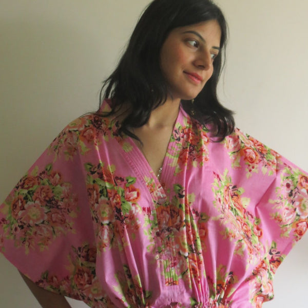 Pink Floral V-Neck Button Down to Waist, Ankle Length, Cinched Waist Caftan