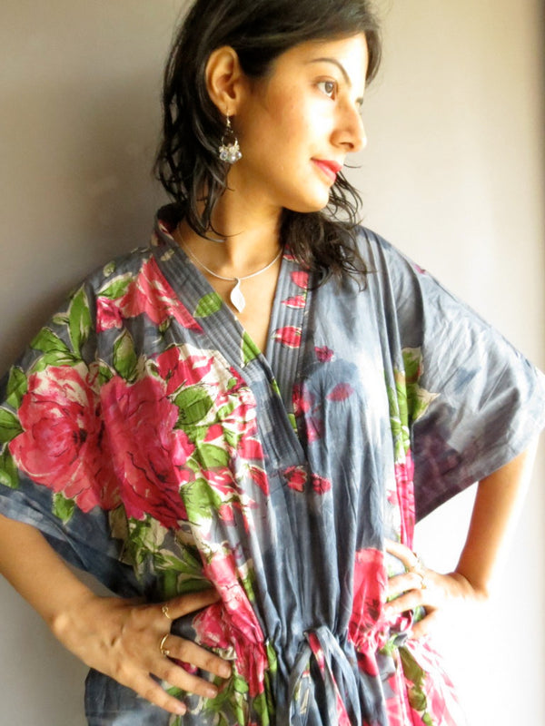 Gray Big Flower V-Neck, Ankle Length, Cinched Waist Caftan-E5 fabric Code