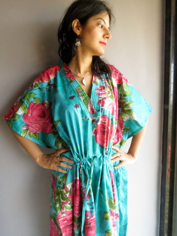 Teal Big Flower V-Neck, Ankle Length, Cinched Waist Caftan-E7 fabric Code