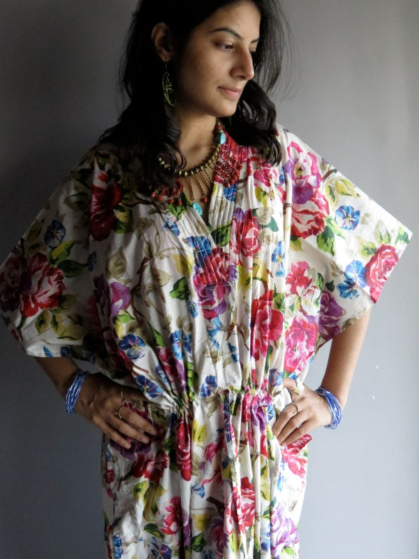 White Multicolor Floral V-Neck, Ankle Length, Cinched Waist Caftan