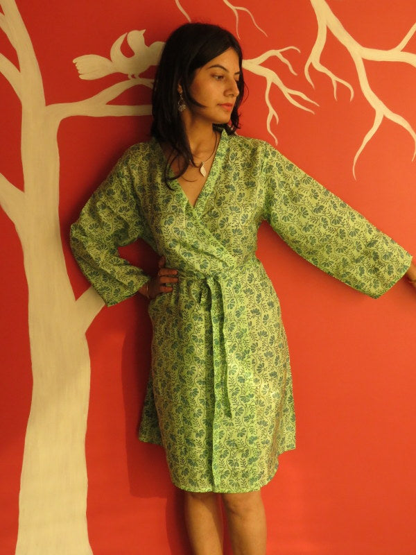 Silk Green Leafy Knee Length, Kimono Crossover Belted Robe