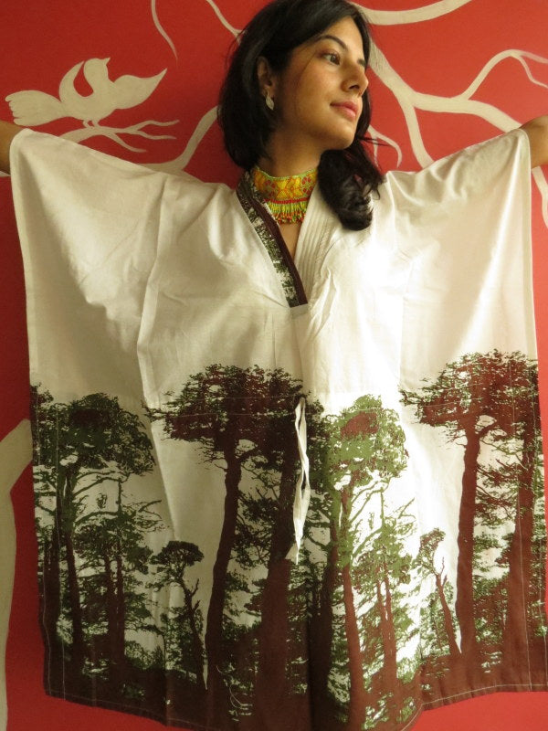 White Tree of Life V-Neck, Knee Length, Cinched Waist Caftan