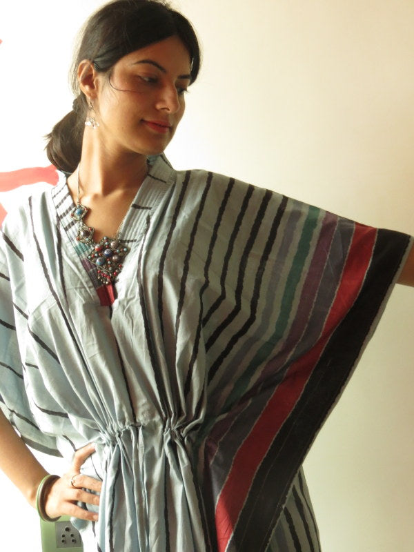 Gray Striped V-Neck, Ankle Length, Cinched Waist Caftan