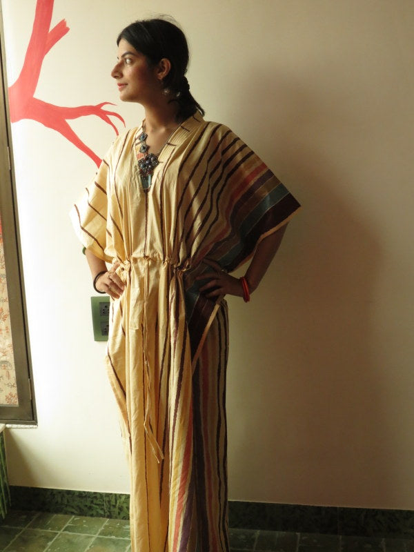 Yellow Striped V-Neck, Ankle Length, Cinched Waist Caftan