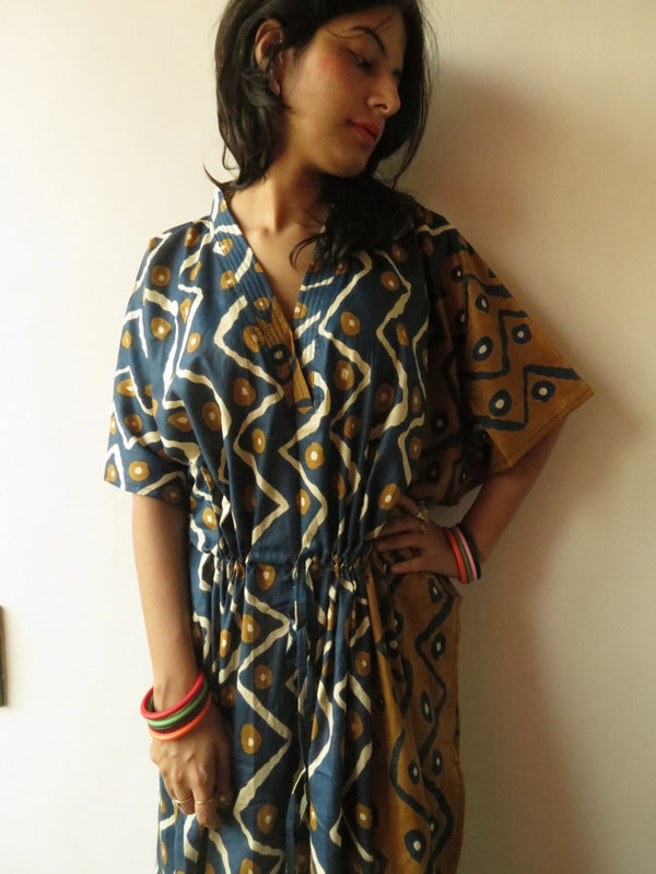 Blue Mustard Chevron V-Neck, Ankle Length, Cinched Waist Caftan