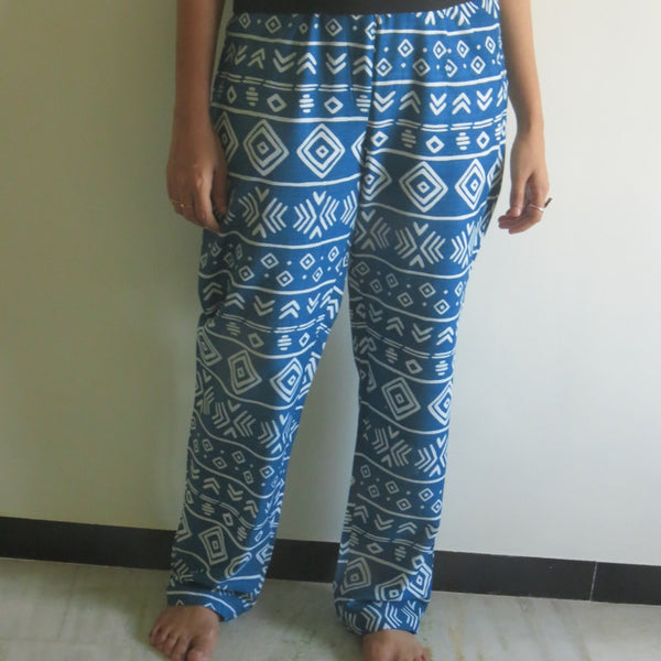 Dark Blue Aztec Straight Cut Drawstring Pajamas