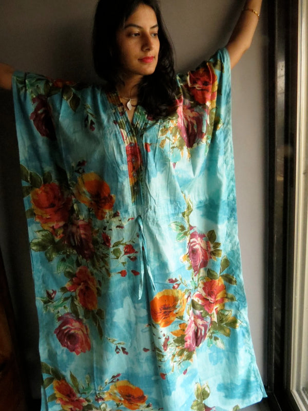 Blue Multicolor Big Flower V-Neck Button Down to Waist, Ankle Length, Cinched Waist Caftan-D4 fabric Code