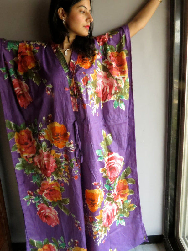 Purple Multicolor Big Flower V-Neck Button Down to Waist, Ankle Length, Cinched Waist Caftan-D7 fabric Code