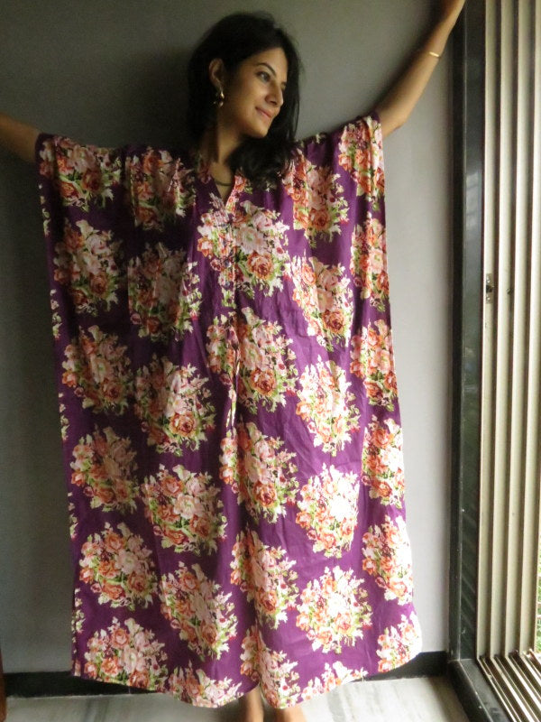 Purple Floral V-Neck Button Down to Waist, Ankle Length, Cinched Waist Caftan-C8 fabric Code