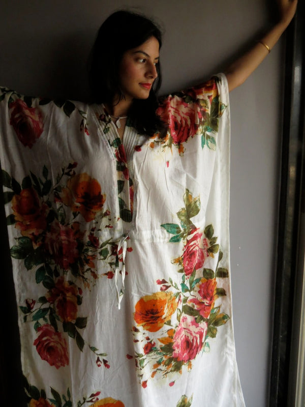 White Multicolor Big Flower V-Neck Button Down to Waist, Ankle Length, Cinched Waist Caftan-D10 fabric Code