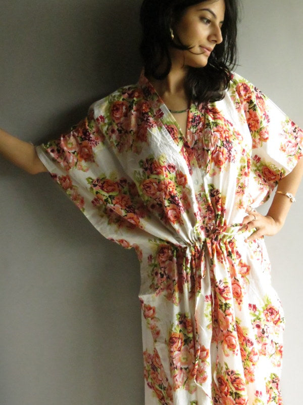 White Floral V-Neck Button Down to Waist, Ankle Length, Cinched Waist Caftan-C7 fabric Code