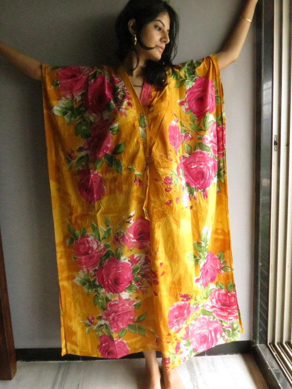 Yellow Fuchsia Flowers V-Neck Button Down to Waist, Ankle Length, Cinched Waist Caftan-E8 fabric Code