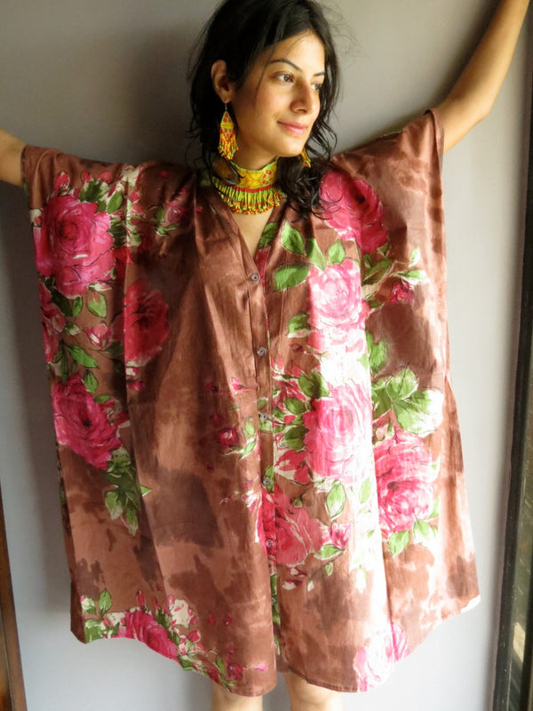 Brown Fuchsia Flowers V-Neck Full Button Down, Knee Length, Belted Caftan-E4 fabric Code