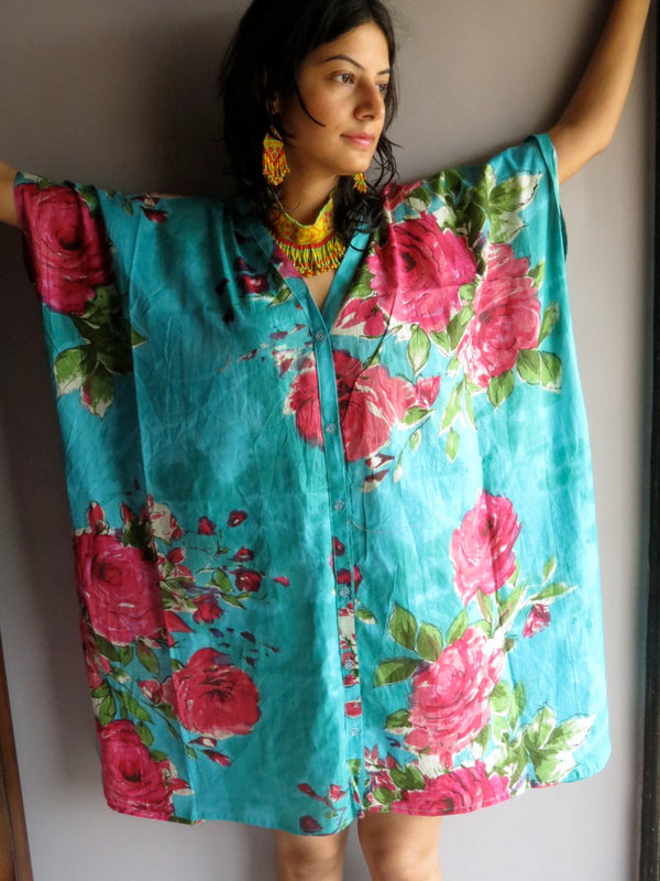 Teal Fuchsia Flowers V-Neck Full Button Down, Knee Length, Belted Caftan-E7 fabric Code