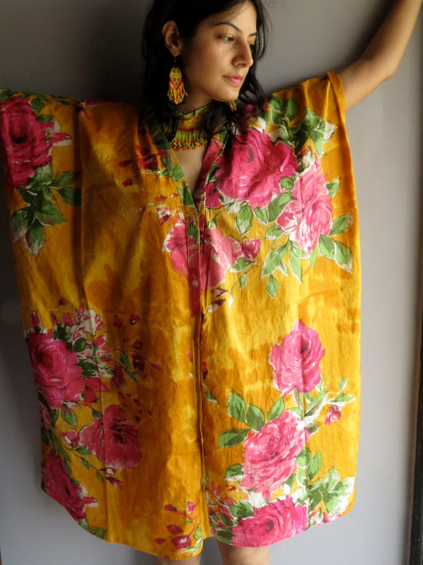 Yellow Fuchsia Flowers V-Neck Full Button Down, Knee Length, Belted Caftan-E8 fabric Code