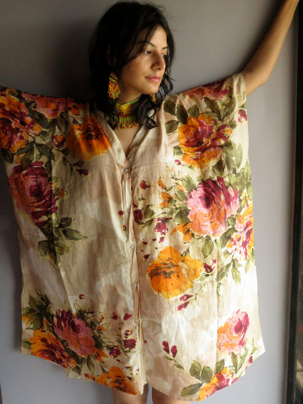 Beige Multicolor Big Flower V-Neck Full Button Down, Knee Length, Belted Caftan-D2 fabric Code