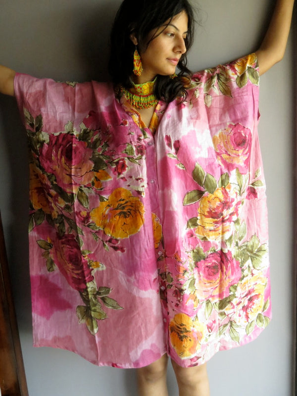 Pink Multicolor Big Flower V-Neck Button Down to Waist, Knee Length, Cinched Waist Caftan