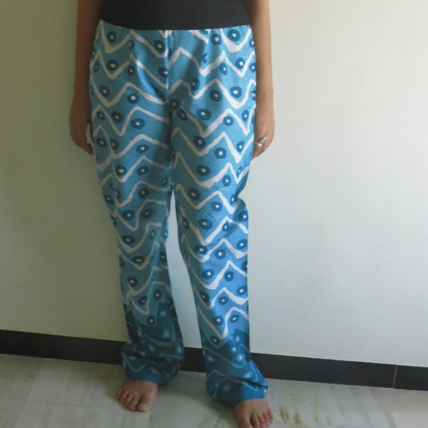 Teal Chevron Straight Cut Drawstring Pajamas