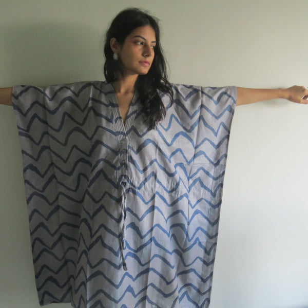 Gray Chevron V-Neck Button Down to Waist, Knee Length, Cinched Waist Caftan