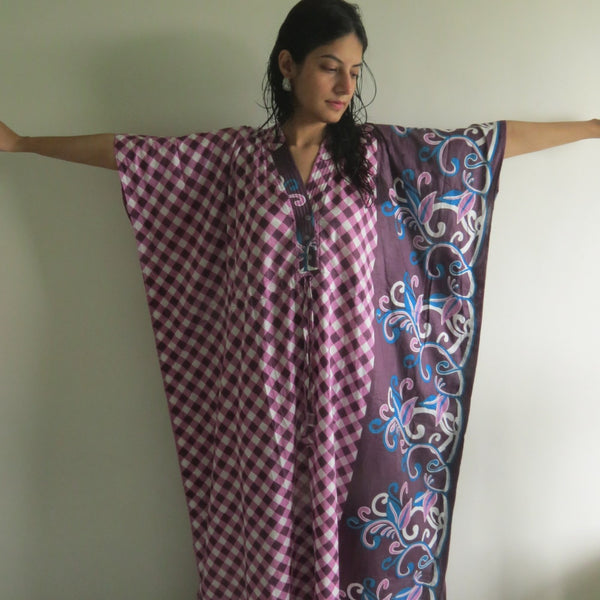 Burgundy Plaid V-Neck Button Down to Waist, Ankle Length, Cinched Waist Caftan-JJ4 fabric Code