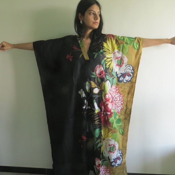 Black Multicolor V-Neck, Ankle Length Caftan