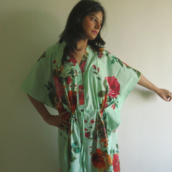 Mint Big Floral V-Neck Button Down to Waist, Ankle Length, Cinched Waist Caftan