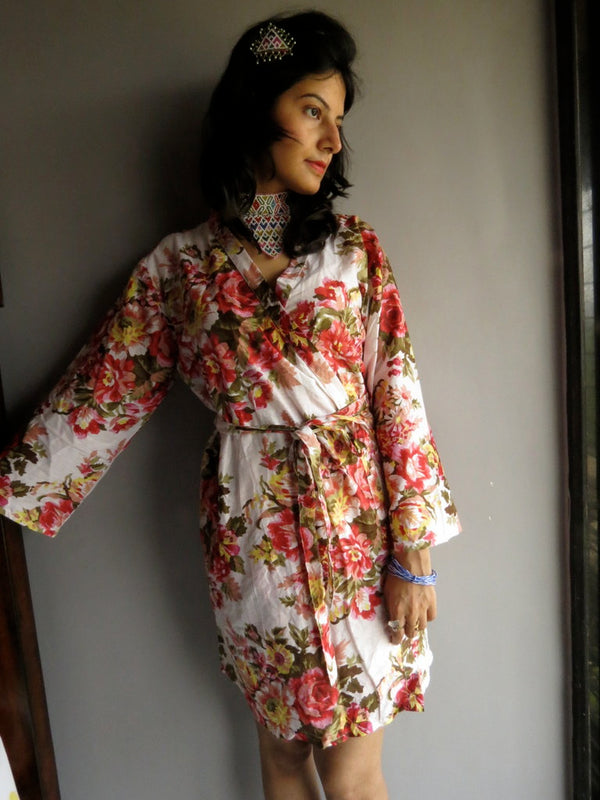 White Floral Knee Length, Kimono Crossover Belted Robe-A9 fabric Code