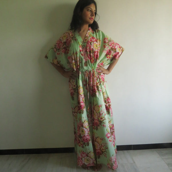 Mint Floral V-Neck Button Down to Waist, Ankle Length, Cinched Waist Caftan