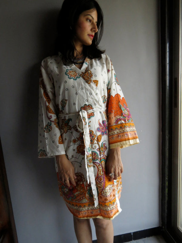 White Orange Knee Length, Kimono Crossover Belted Robe