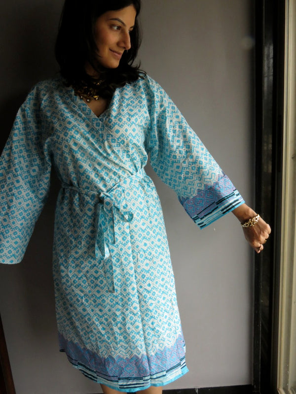 Light Blue Chevron Knee Length, Kimono Crossover Belted Robe