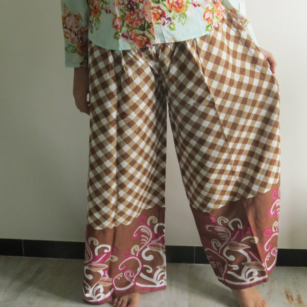 Brown Plaid Wide Legged Elastic Pajamas