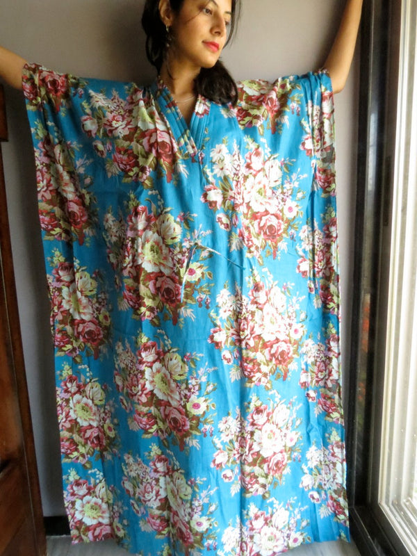 Blue Multicolor Flower V-Neck, Ankle Length, Cinched Waist Caftan- A4 fabric Code