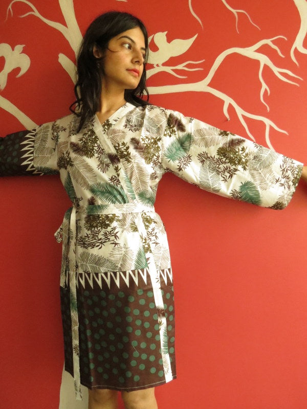 White Green Brown Knee Length, Kimono Crossover Belted Robe
