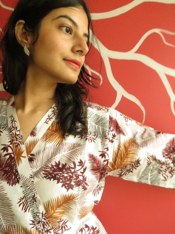 White Maroon leafy Knee Length, Kimono Crossover Belted Robe