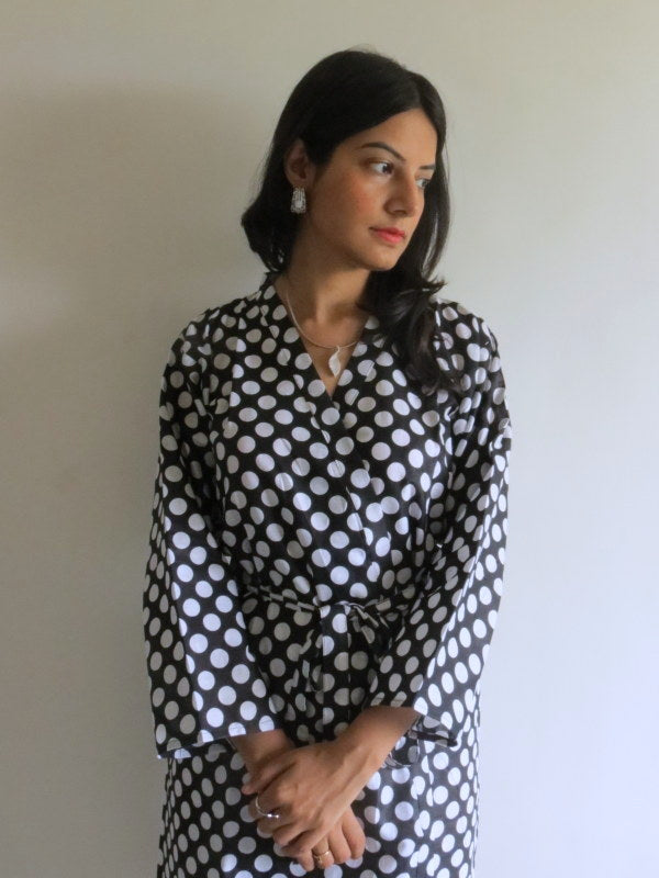 Black Polka Dots Knee Length, Kimono Crossover Belted Robe