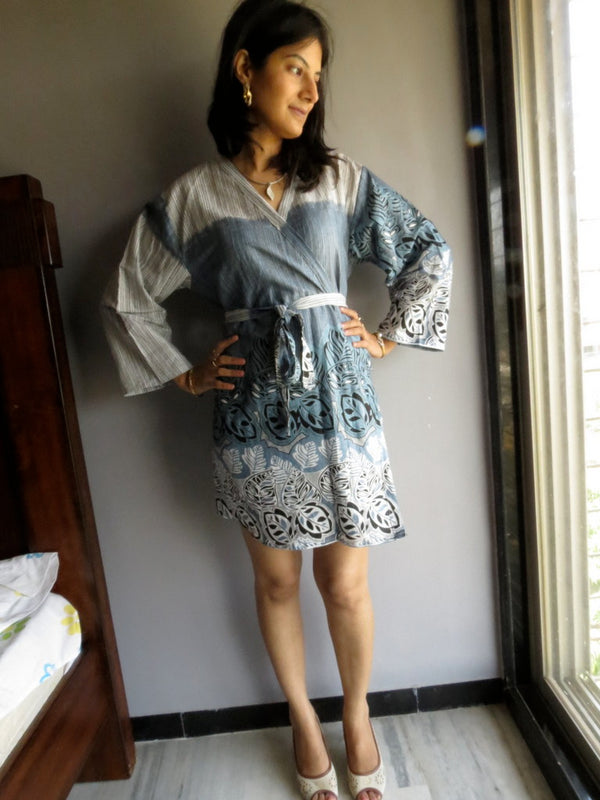 Gray Striped Knee Length, Kimono Crossover Belted Robe