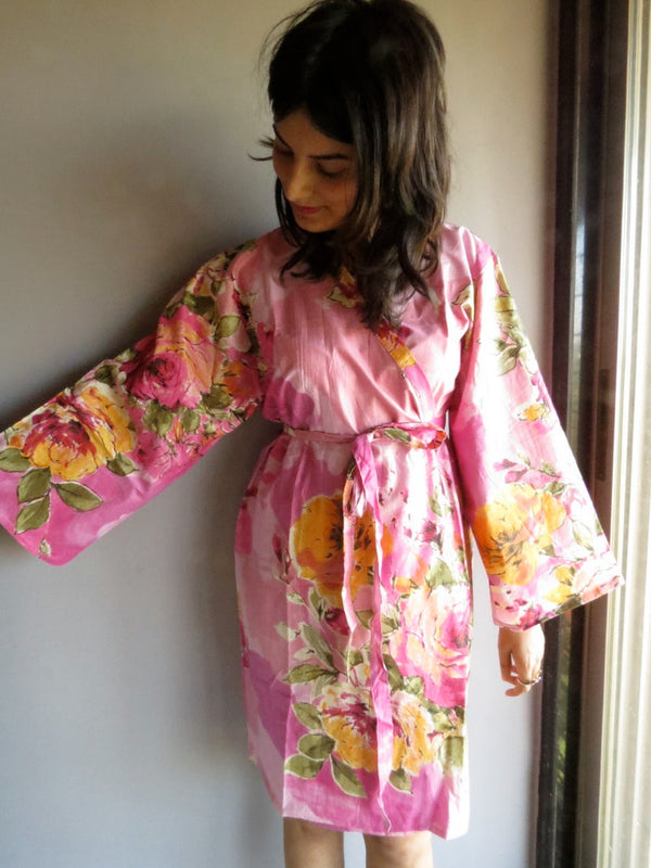 Pink Floral Knee Length, Kimono Crossover Belted Robe-D5 fabric Code