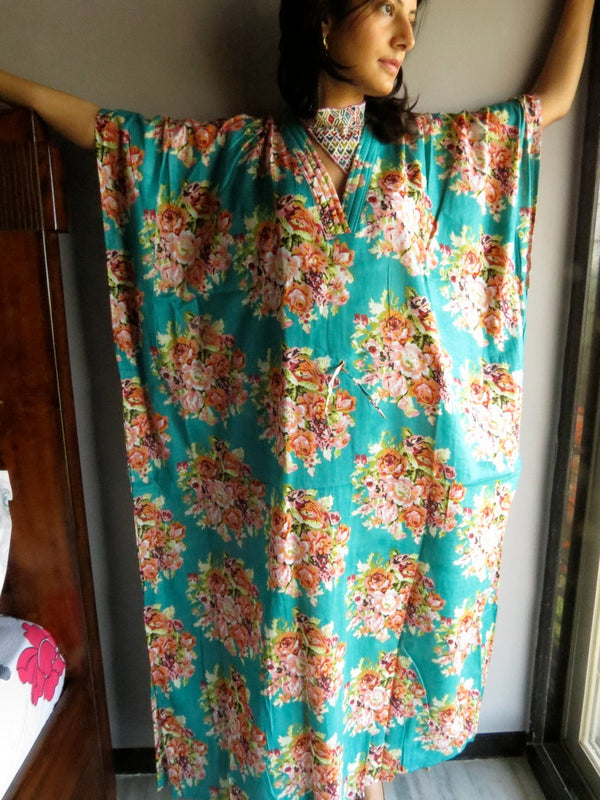 Teal Floral V-Neck, Ankle Length, Cinched Waist Caftan-C2 fabric Code
