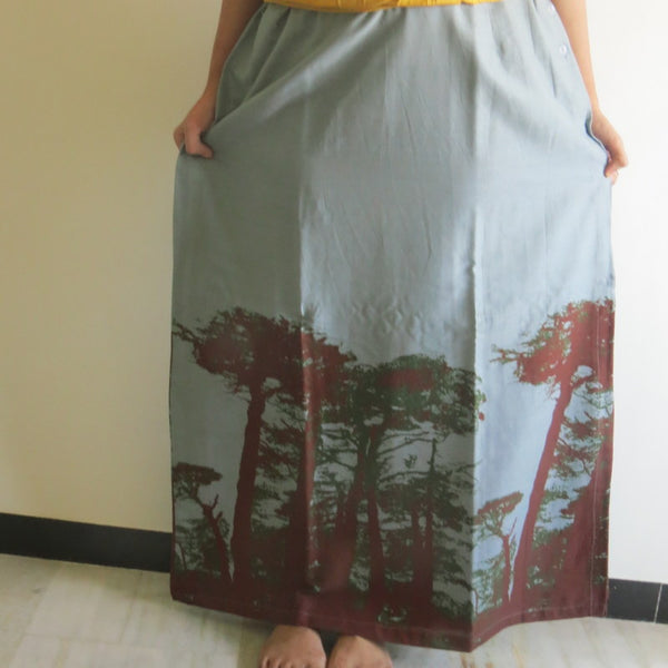 Gray Tree of Life Wrap Around Skirt