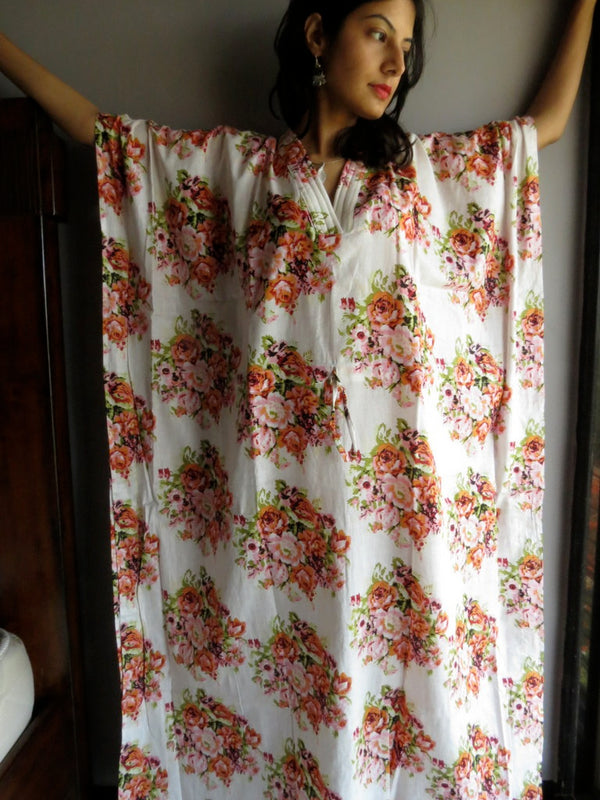 White Floral V-Neck, Ankle Length, Cinched Waist Caftan-C7 fabric Code